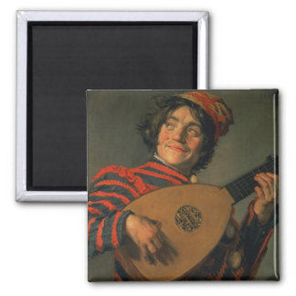 Portrait of a Jester with a Lute (oil on canvas) Magnet