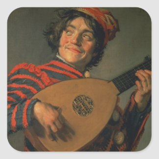 Portrait of a Jester with a Lute (oil on canvas) Square Sticker