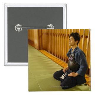 Portrait of a Kendo Fencer Pinback Button