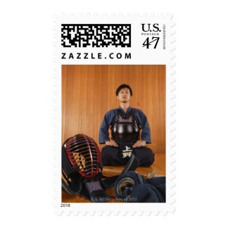 Portrait of a Kendo Fencer With Equipment Postage
