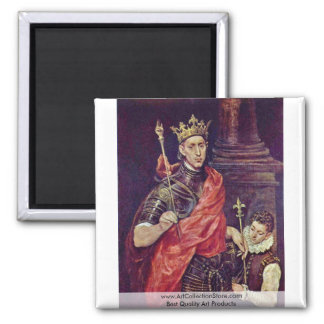 Portrait Of A King (King St.?) By Greco El 2 Inch Square Magnet