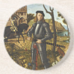 Portrait of a Knight by Vittore Carpaccio Drink Coasters