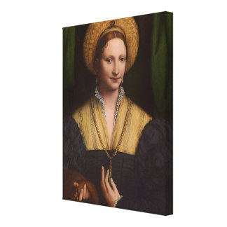 Portrait of a lady, 1520-1525 (oil on panel) canvas print