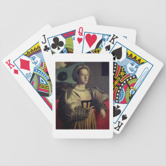 Portrait of a lady bicycle playing cards