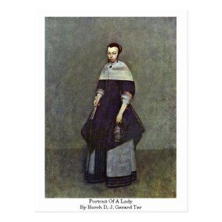 Portrait Of A Lady By Borch D. J. Gerard Ter Postcard