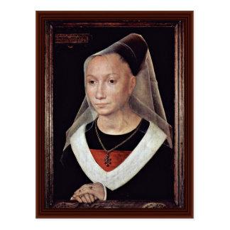 Portrait Of A Lady By Memling Hans Postcard