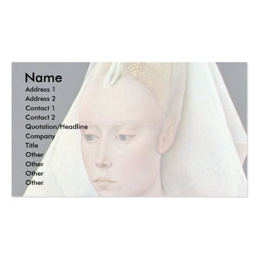 Portrait Of A Lady By Weyden Rogier Van Der Double-Sided Standard Business Cards (Pack Of 100)