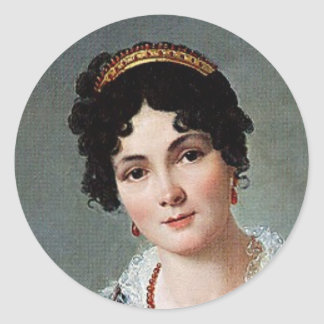 Portrait of a lady classic round sticker