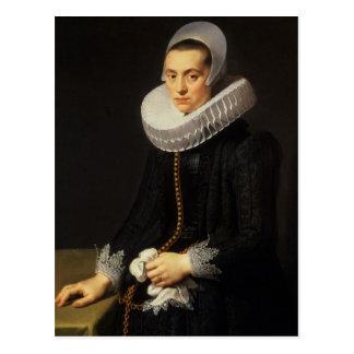 Portrait of a Lady in a Black Dress Postcard