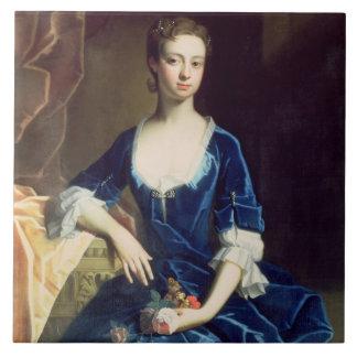 Portrait of a Lady in a Blue Velvet Dress (oil on Ceramic Tile