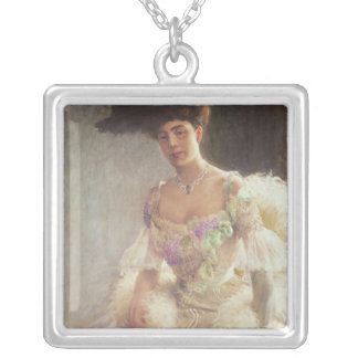 Portrait of a Lady in Evening Dress, 1903 Silver Plated Necklace
