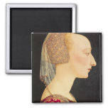 Portrait of a Lady in Red, 1460-70 2 Inch Square Magnet