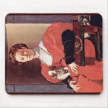 Portrait Of A Lady In Red Dress By Pontormo Jacopo Mouse Pad