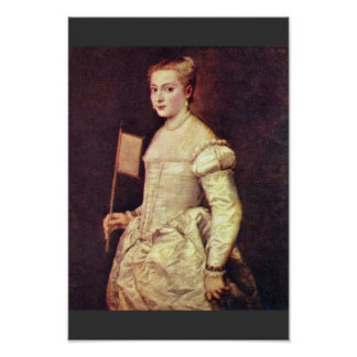 Portrait Of A Lady In White By Tizian Poster