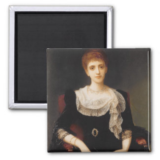 Portrait of a Lady (oil on canvas) 2 2 Inch Square Magnet