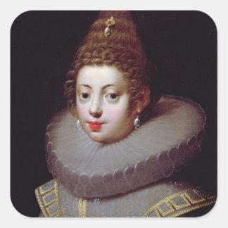 Portrait of a Lady, said to be Marguerite de Valoi Square Sticker