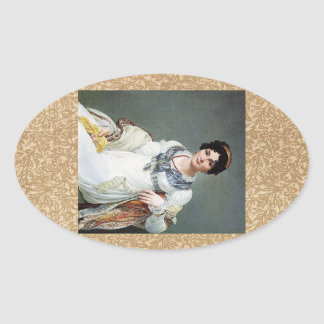 Portrait of a lady oval stickers