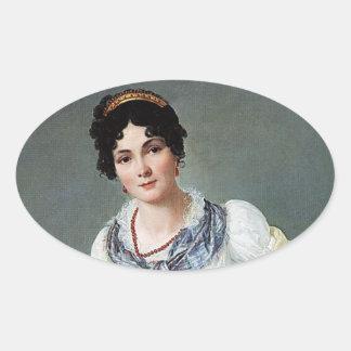 Portrait of a lady oval sticker