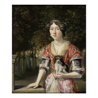 Portrait of a Lady Wearing a Red and White Dress Poster