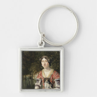 Portrait of a Lady Wearing a Red and White Dress Silver-Colored Square Keychain