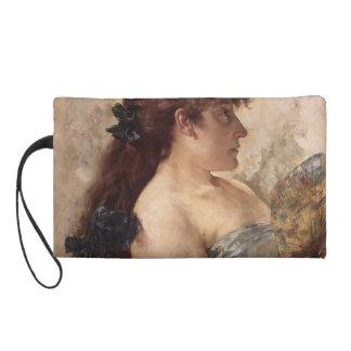 Portrait Of A Lady with a Fan by James Tissot Wristlet Clutch