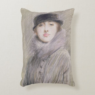 Portrait of a Lady with a Fur Collar and Muff Accent Pillow