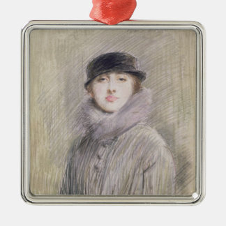 Portrait of a Lady with a Fur Collar and Muff Square Metal Christmas Ornament