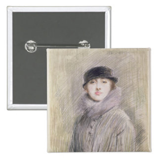 Portrait of a Lady with a Fur Collar and Muff Pinback Button