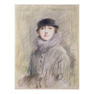 Portrait of a Lady with a Fur Collar and Muff Postcard