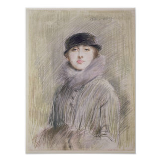 Portrait of a Lady with a Fur Collar and Muff Poster