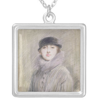 Portrait of a Lady with a Fur Collar and Muff Silver Plated Necklace