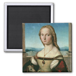 Portrait of a Lady with a Unicorn, c.1505-6 2 Inch Square Magnet