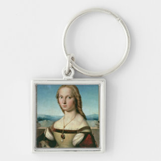 Portrait of a Lady with a Unicorn, c.1505-6 Silver-Colored Square Keychain
