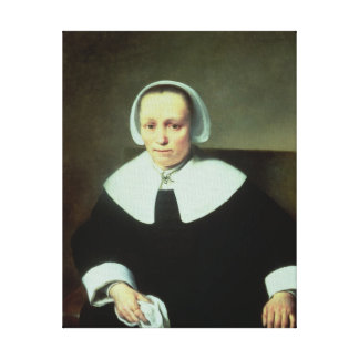 Portrait of a Lady with White Collar and Cuffs Canvas Print