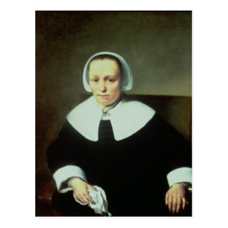 Portrait of a Lady with White Collar and Cuffs Postcard