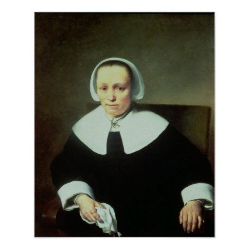 Portrait of a Lady with White Collar and Cuffs Print