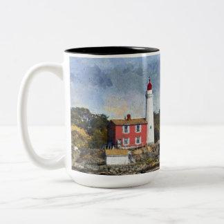 Portrait of a Lighthouse Two-Tone Coffee Mug