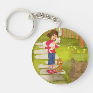 Portrait of a little girl with dog Key Chain