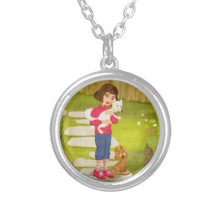 Portrait of a little girl with dog Necklace