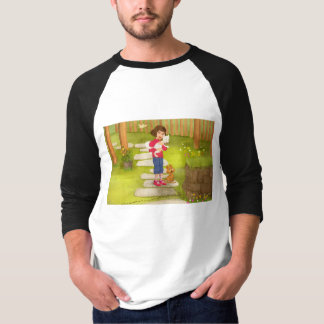 Portrait of a little girl with dog T-shirt