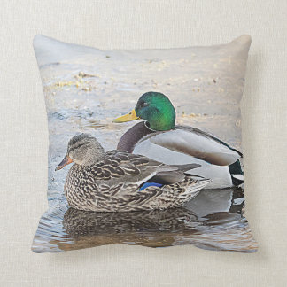 Portrait of a male and female mallard throw pillow