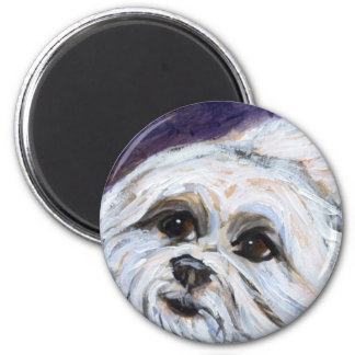 Portrait of a maltese 2 inch round magnet