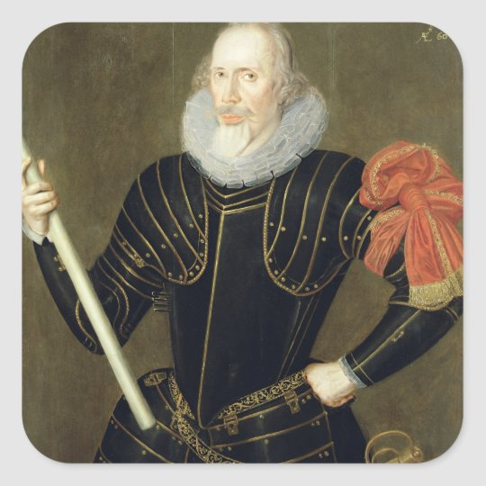 Portrait of a Man, 1593 (oil on panel) Square Sticker