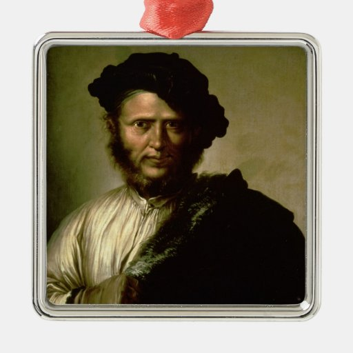 Portrait of a Man, 1640 Square Metal Christmas Ornament