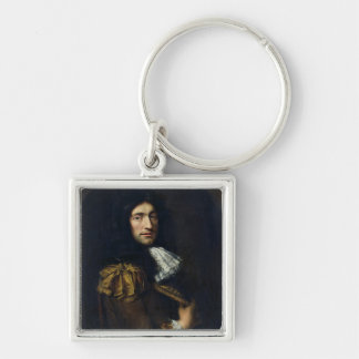 Portrait of a Man 2 Silver-Colored Square Keychain