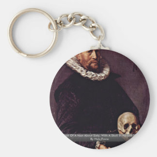 Portrait Of A Man About Sixty, With A Skull Key Chain