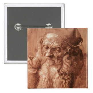 Portrait of a man, aged ninety-three, 1521 pinback button