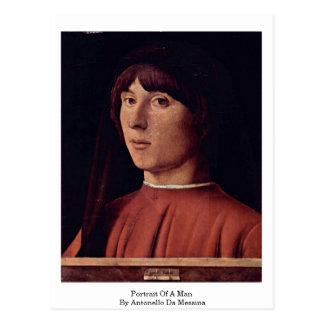 Portrait Of A Man By Antonello Da Messina Post Card