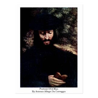 Portrait Of A Man By Antonio Allegri Da Correggio Postcards