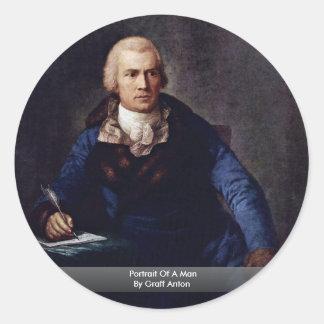 Portrait Of A Man By Graff Anton Round Sticker